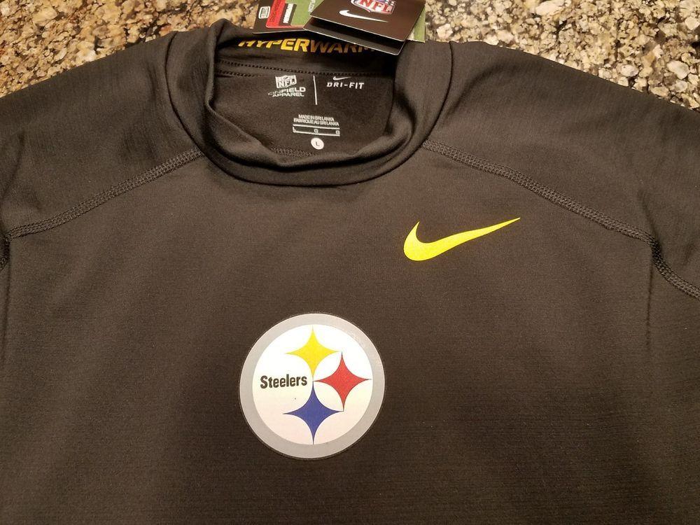 Nike Pittsburgh Steelers Pro Gamme Hyperwarm Training Warm Up Sz Large On  Field