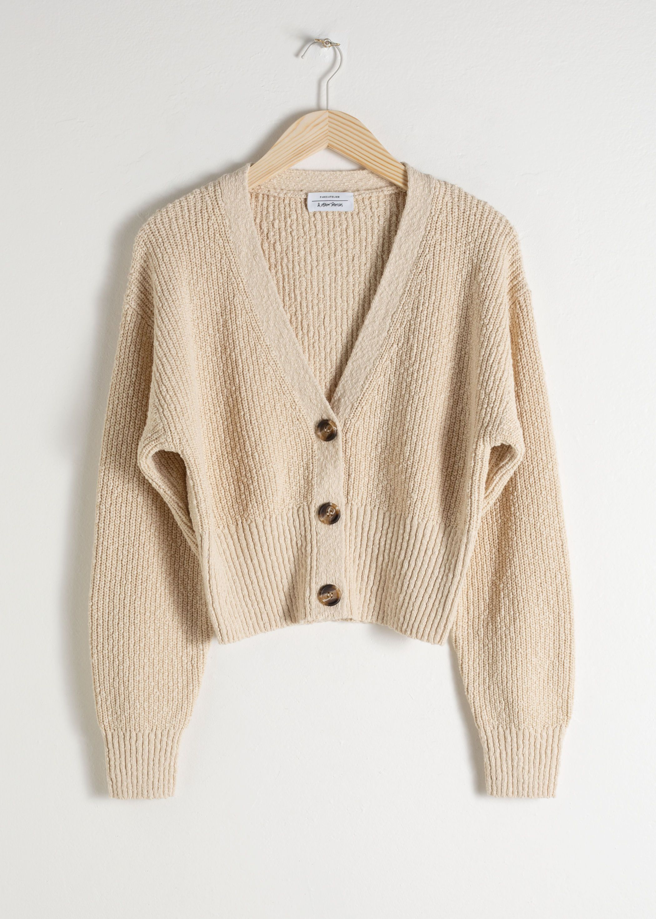 Cropped Textured Cotton Cardigan | Cable knit cardigan