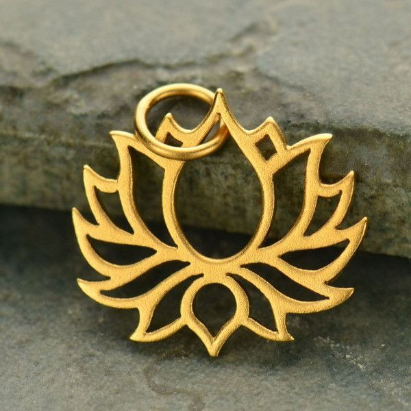 Satin 24K Gold Plated Sterling Silver Wide Symmetrical Blooming Lotus Charm