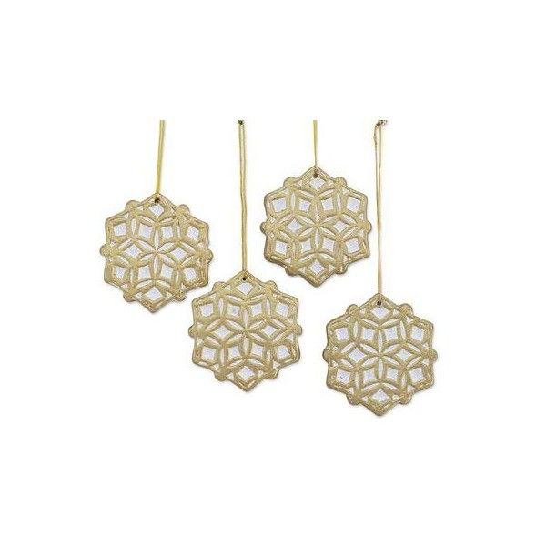 NOVICA Four Ceramic Snowflake Ornaments in Gold (¥1,660) ❤ liked on ...