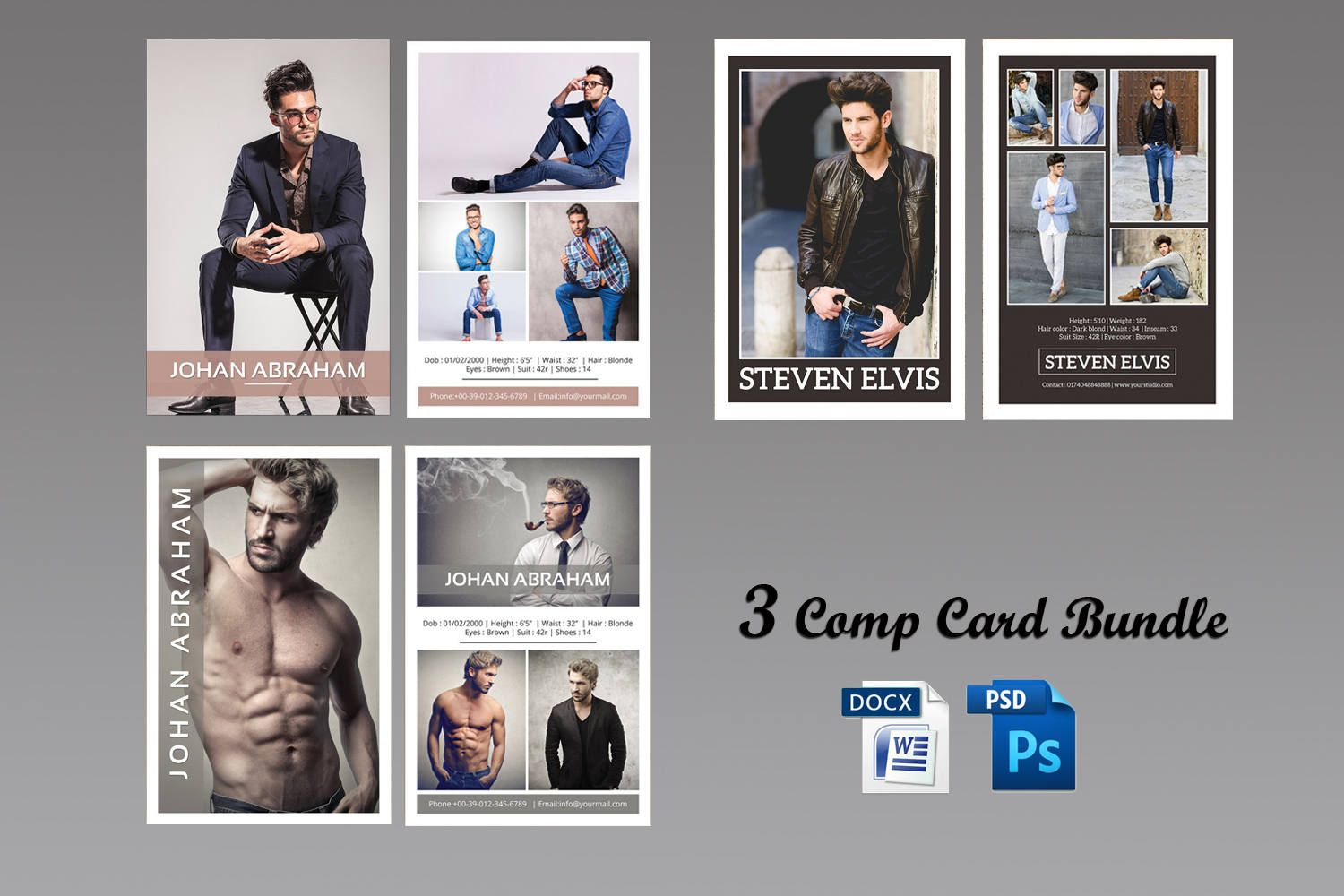3 Model Comp Card Template Bundle Modeling Comp Card Etsy Model Comp Card Card Templates Free Card Template