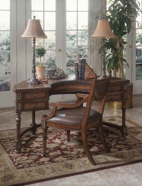 Tuscan Style Decor Half Round Curved Desk Designer W/ Leather Inserts  Furniture