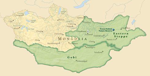 Mapa De Mongolia En Verde El Gran Desierto Del Gobi Y La Fria