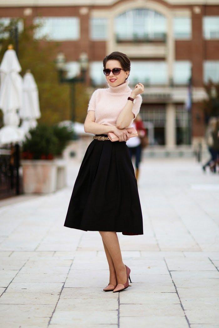 ladylike | fuzzy sweater & full midi skirt - hampton roads