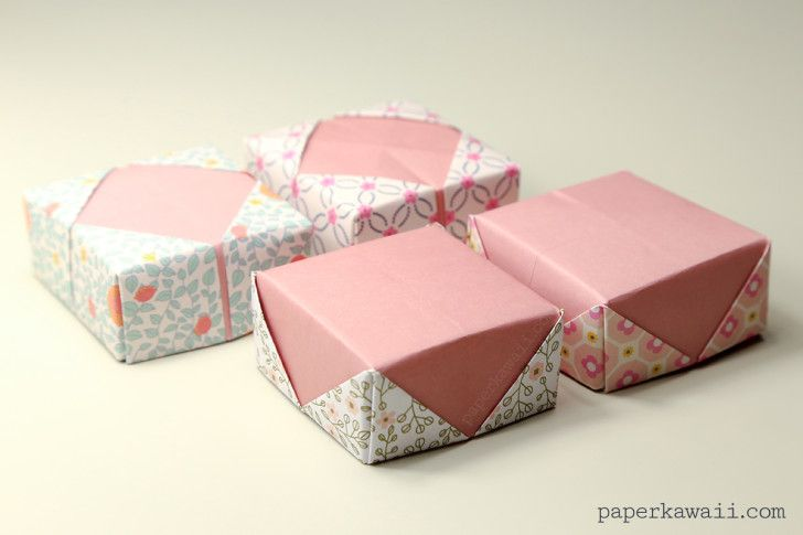 Origami paper box with lid - Tutorial - YouTube | 485x728