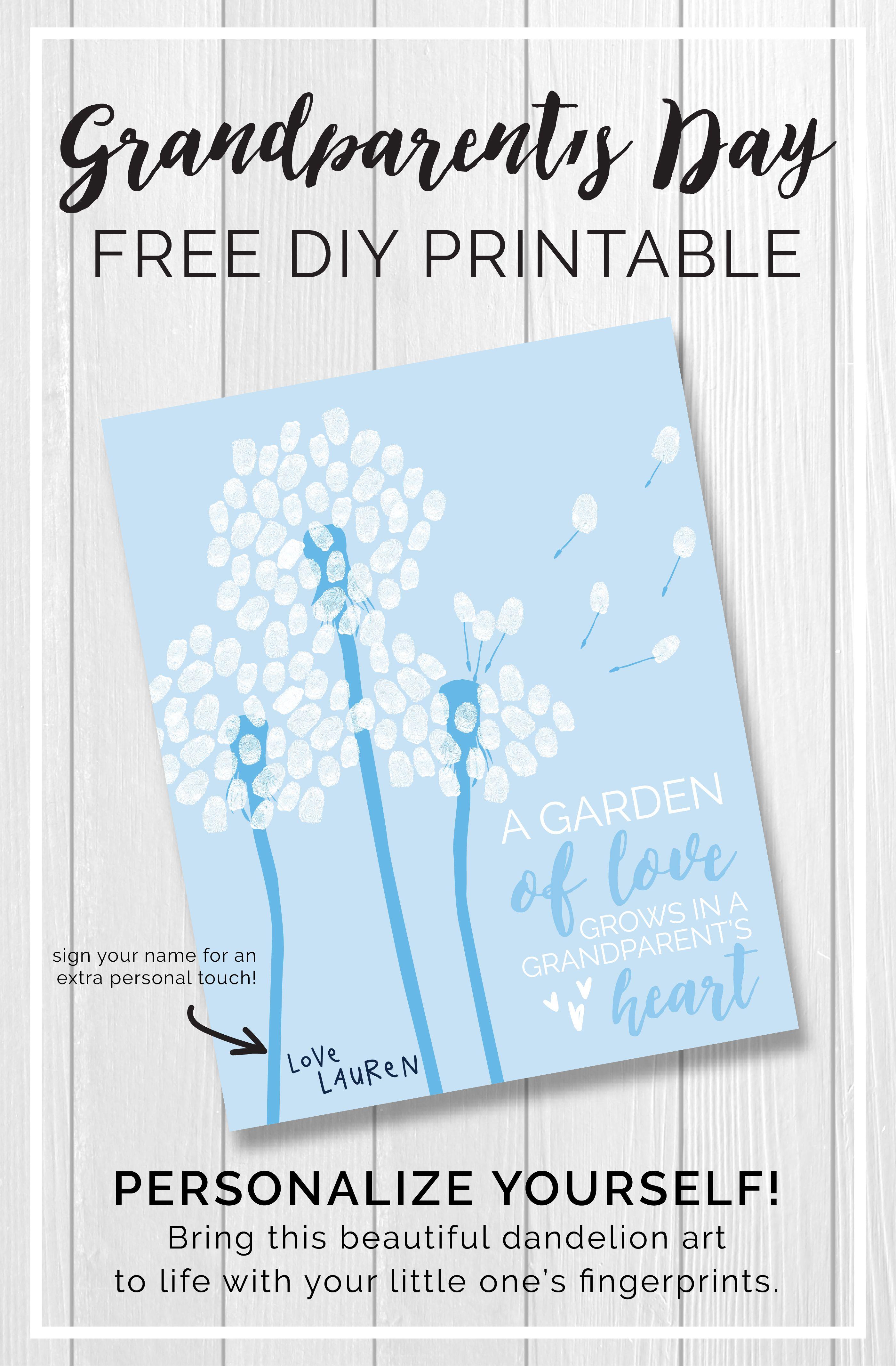 DIY Grandparent's Day Printable | Grandparents day cards ...