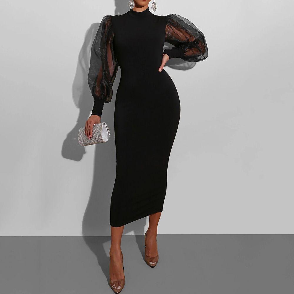Long Sleeve Stand Collar Patchwork Mid-Calf Plain Women's Dress