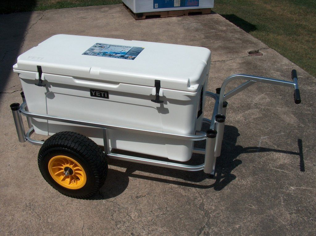 This wide fishing cart by fish n mate features an anodized for Surf fishing cart