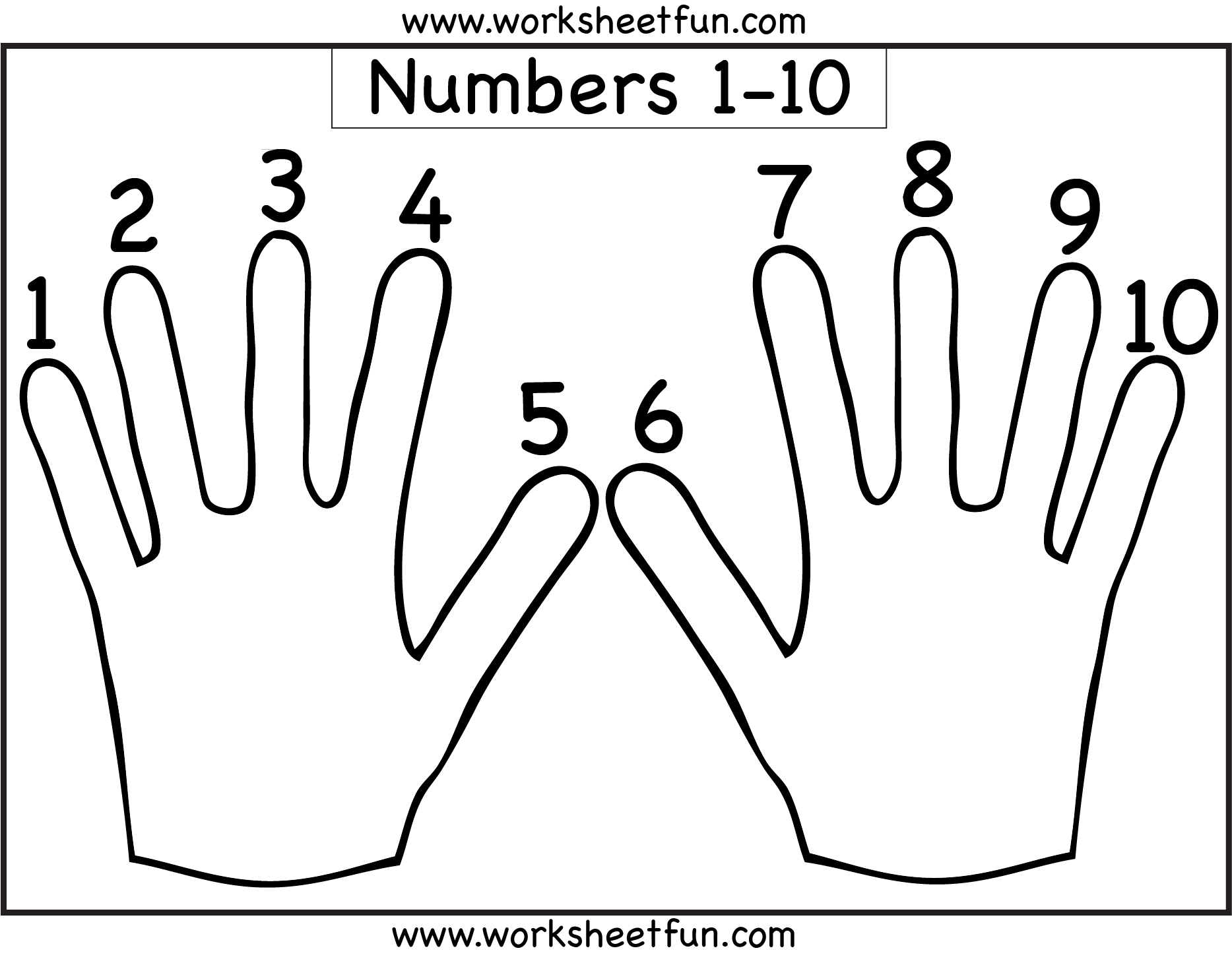 Hand Worksheet - Finger Counting 1-10 - Number Counting - 1-10 ...