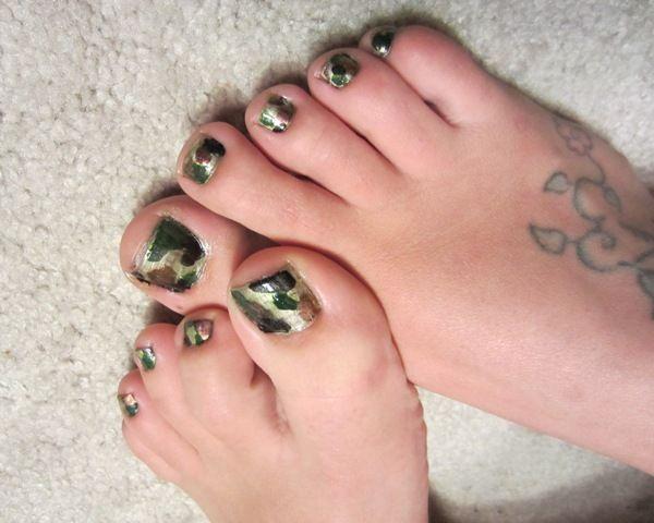 Camo Toe Polish Might Do Mine Like These With Black Tips