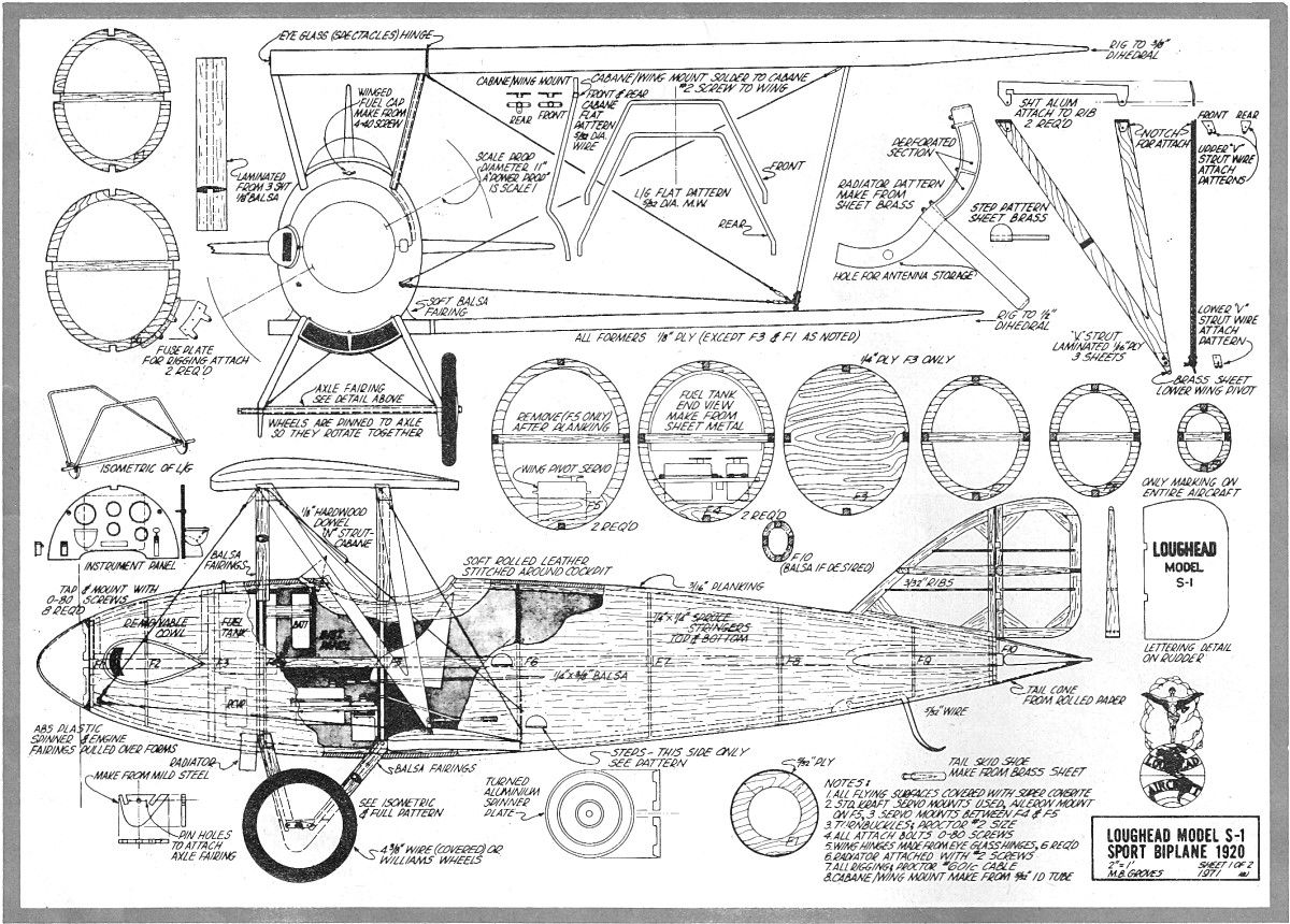 Chris craft model boat plans - Loughead Sport Biplane Model S 1 Plans October 1972 American Aircraft Modeler Airplanes