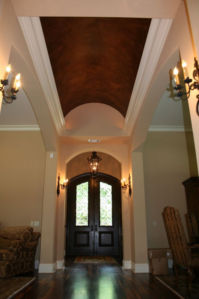 foyer barrel ceiling metalic faux finish mural idea by ForBarrel Ceiling Ideas