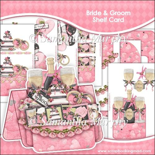 Bride and Groom Shelf Card & Card Box - £0.75 : Instant Card Making Downloads