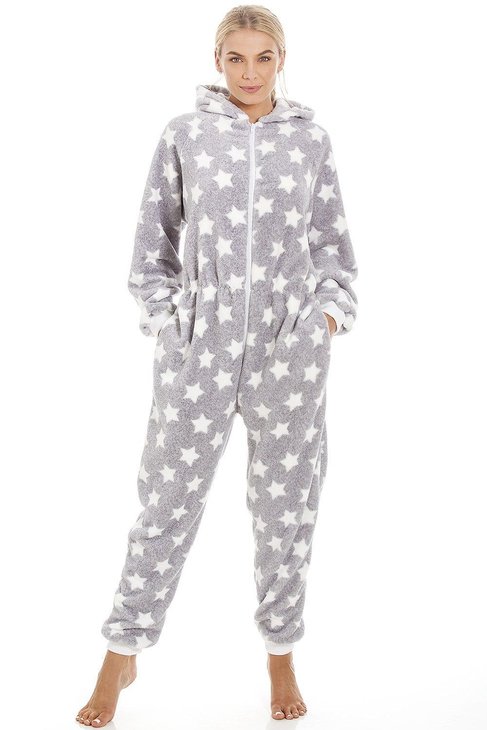Womens Soft Fleece White Star Print Light Grey Onesie  Star print