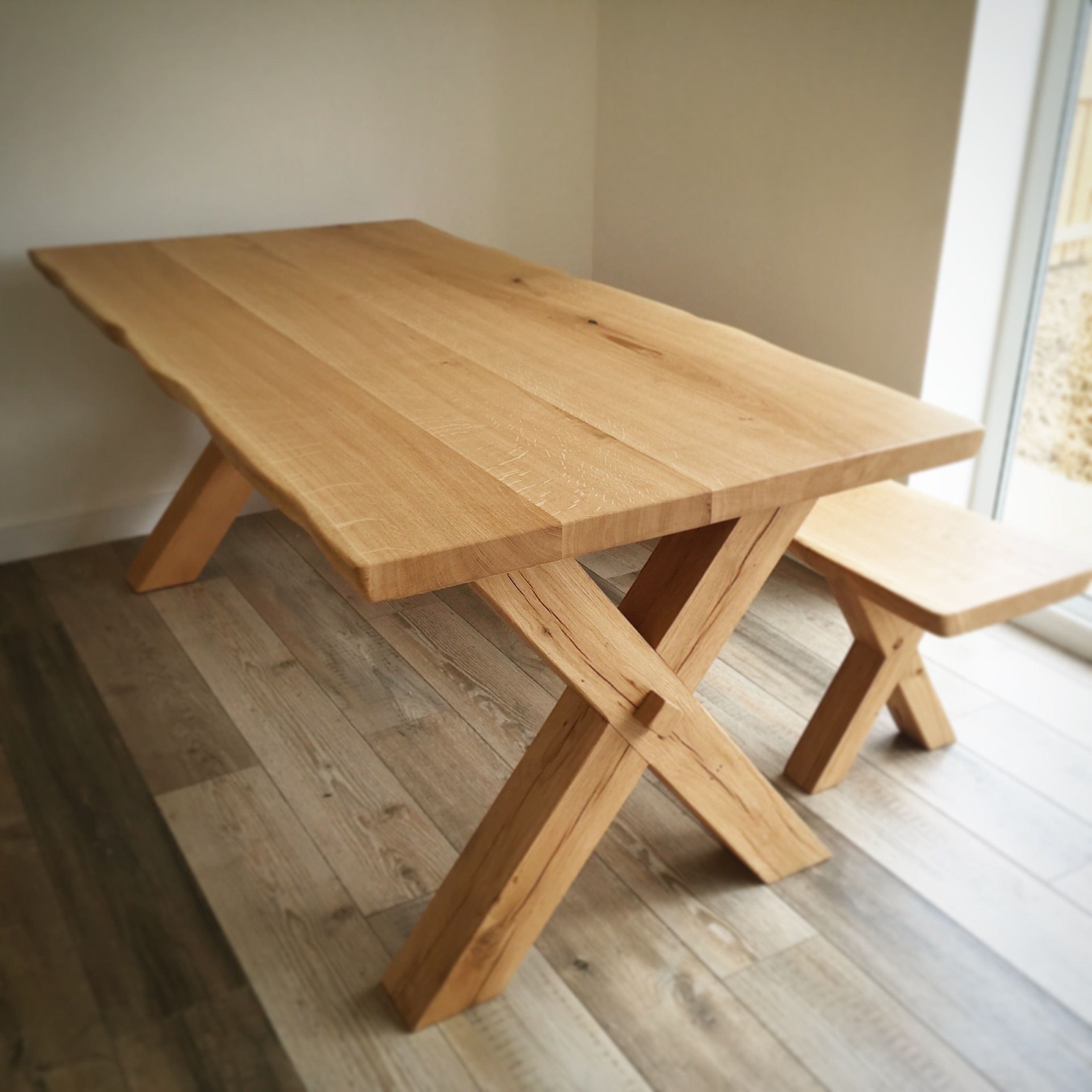 Cross Leg Solid Oak Dining Table Handmade In The Uk Solid Oak
