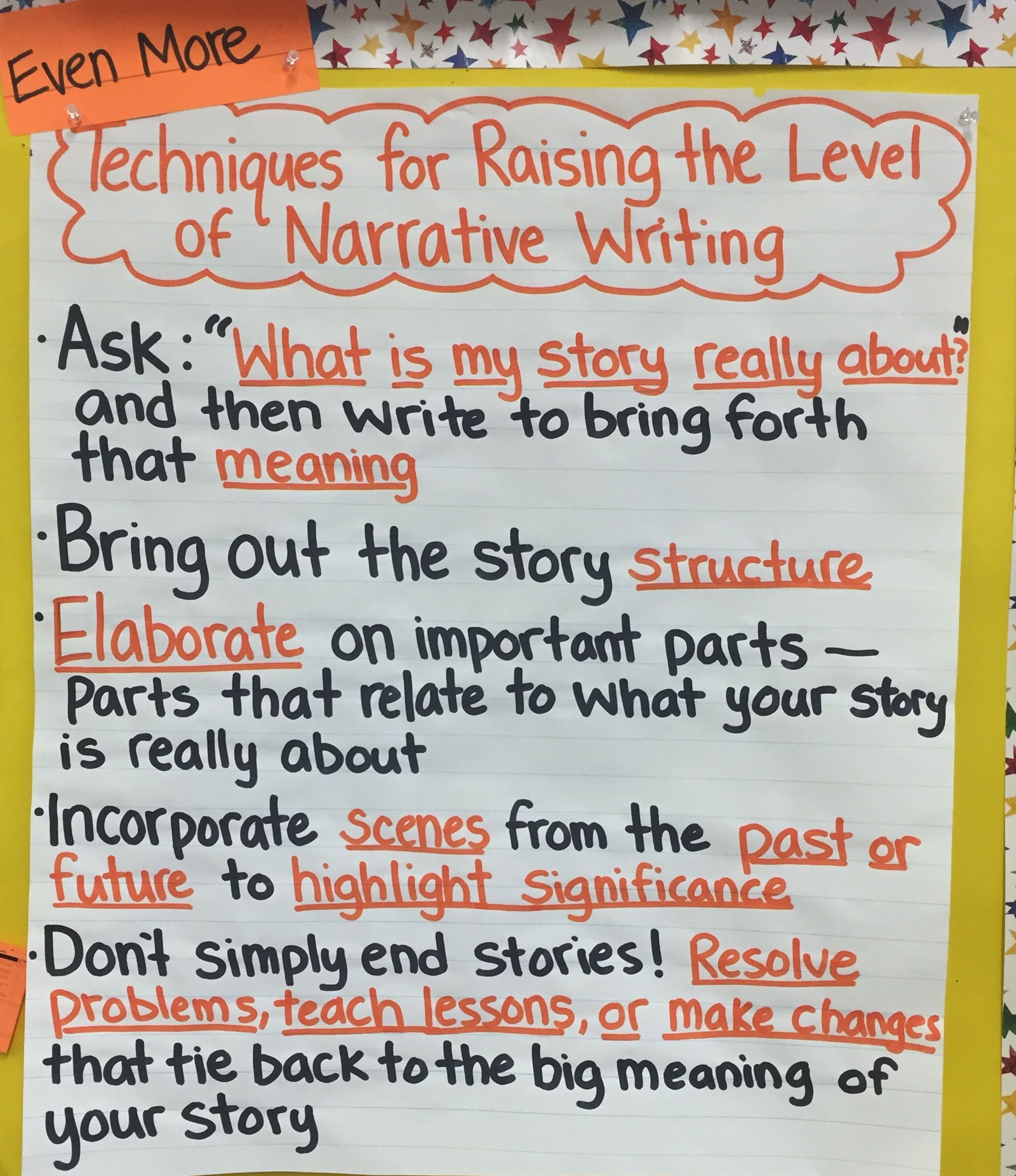 Tc Techniques For Raising The Level Of Narrative Writing Chart Narrative Writing Teaching Writing Writing Workshop How to teach narrative writing to