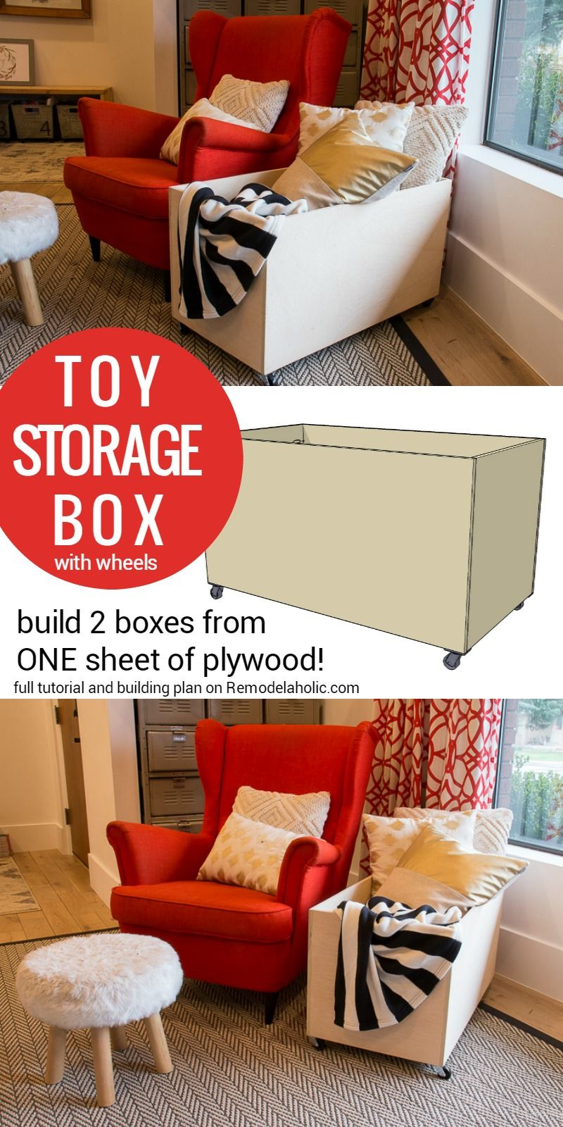 Plywood Rolling Toy Storage Box Remodelaholic Diy Storage Ottoman Diy Storage Ottoman Bench Storage Box On Wheels