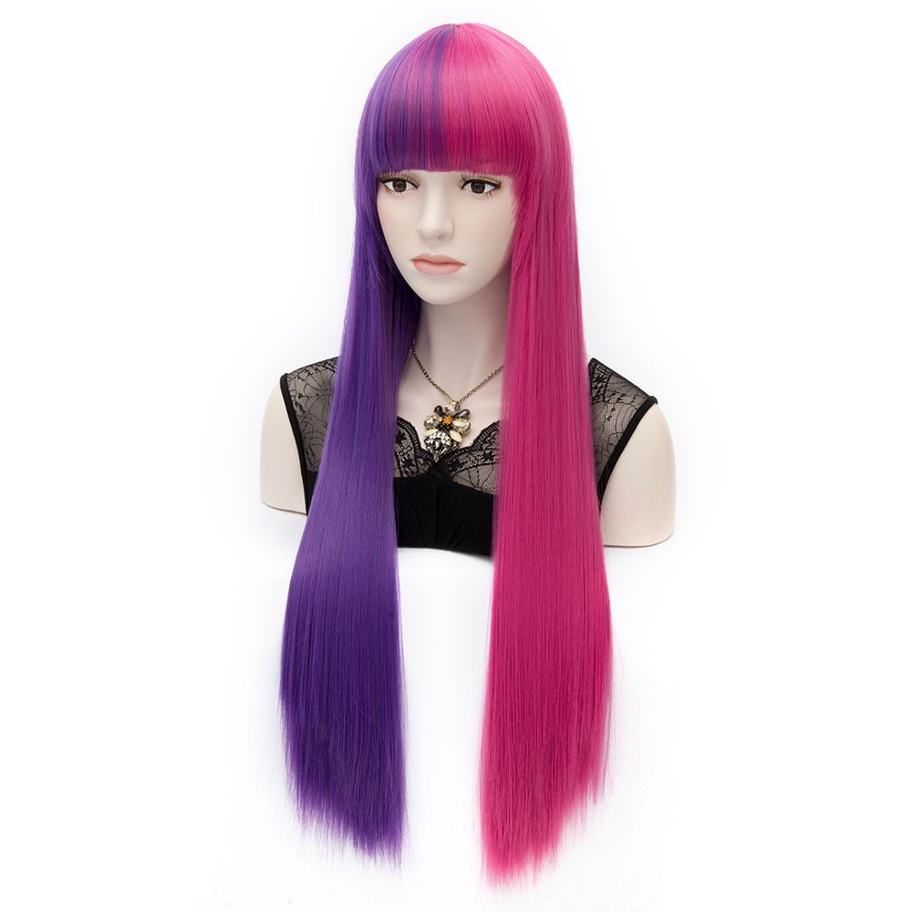 Fashion Two Tone Lolita Long Women Straight Cosplay Hair Party Wig+Wig Cap   Aicos  Bangs 5ebd3e4f3