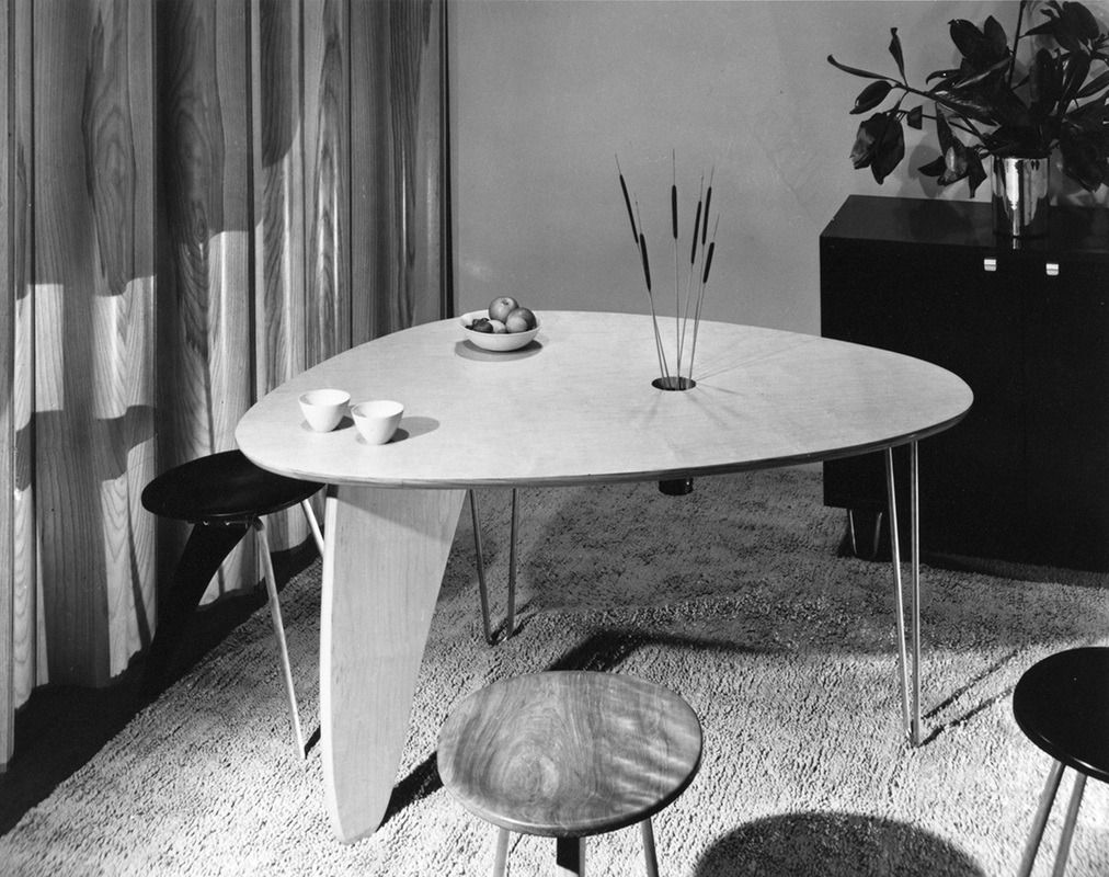ISAMU NOGUCHI, Rudder Dinette Table (model IN 20) And Stools (model IN 22),  USA C.1949. Material Birch Veneered Wood And Zinc Plated Steel.