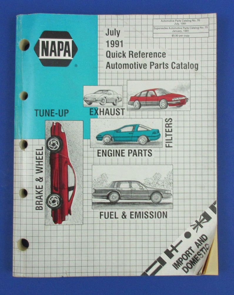 1991 NAPA Domestic and Imported Car Parts Catalog - July 1991 Quick Reference Automotive Parts Catalog