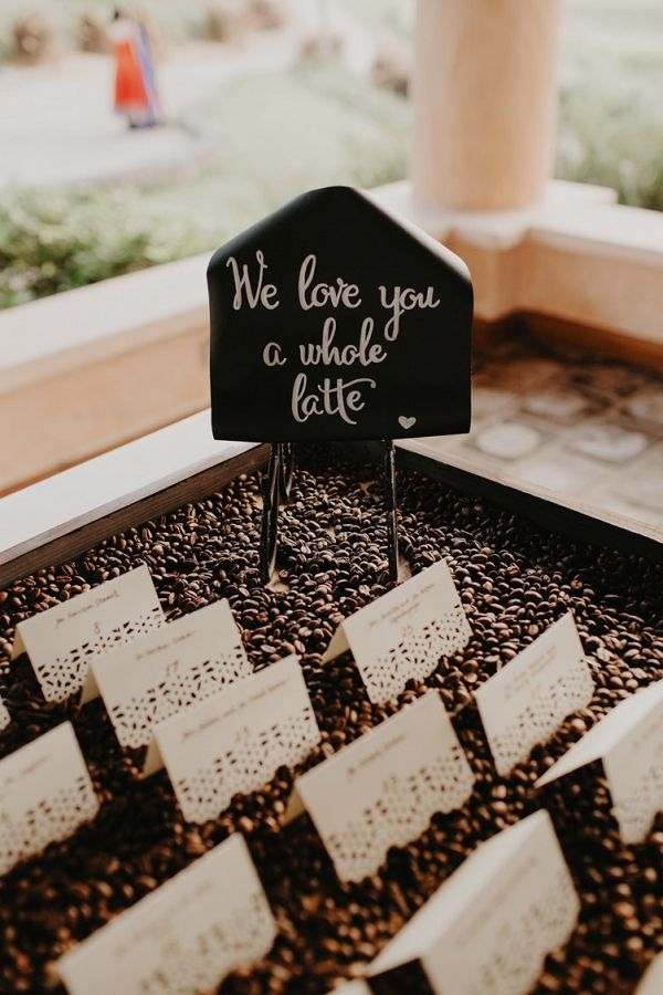Chic Destination Indian Wedding Coffee Wedding Theme Wedding Table Name Cards Coffee Wedding