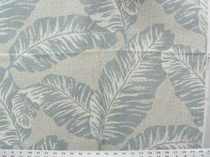 Drapery Upholstery Fabric 100 Cotton Duck Tropical Leaves Blue Gray | eBay