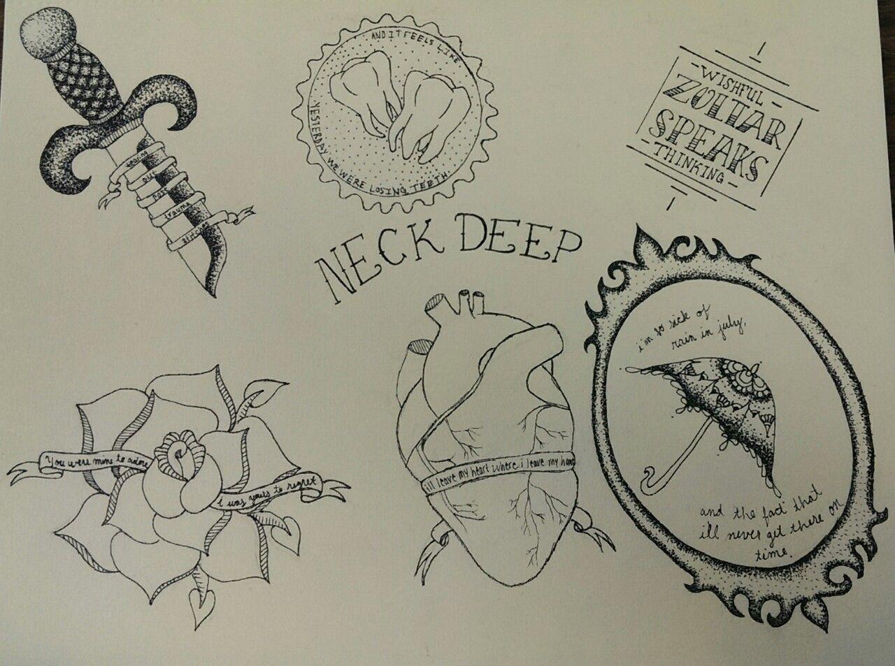 neck deep tattoo flash Deep tattoo, Band tattoo