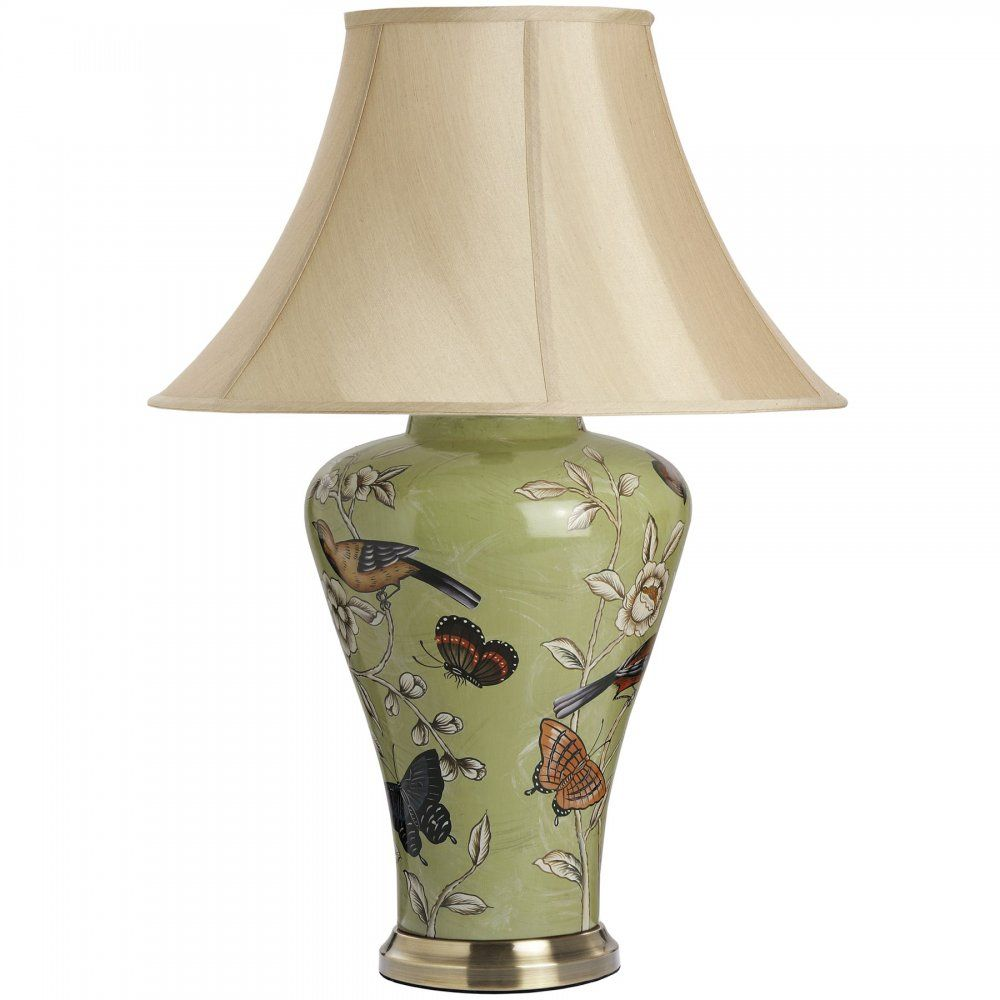 Ceramic table lamps for bedroom - Soft Green Birds Butterflies Cardinal Ceramic Table Lamp With Pale Gold Silk Shade