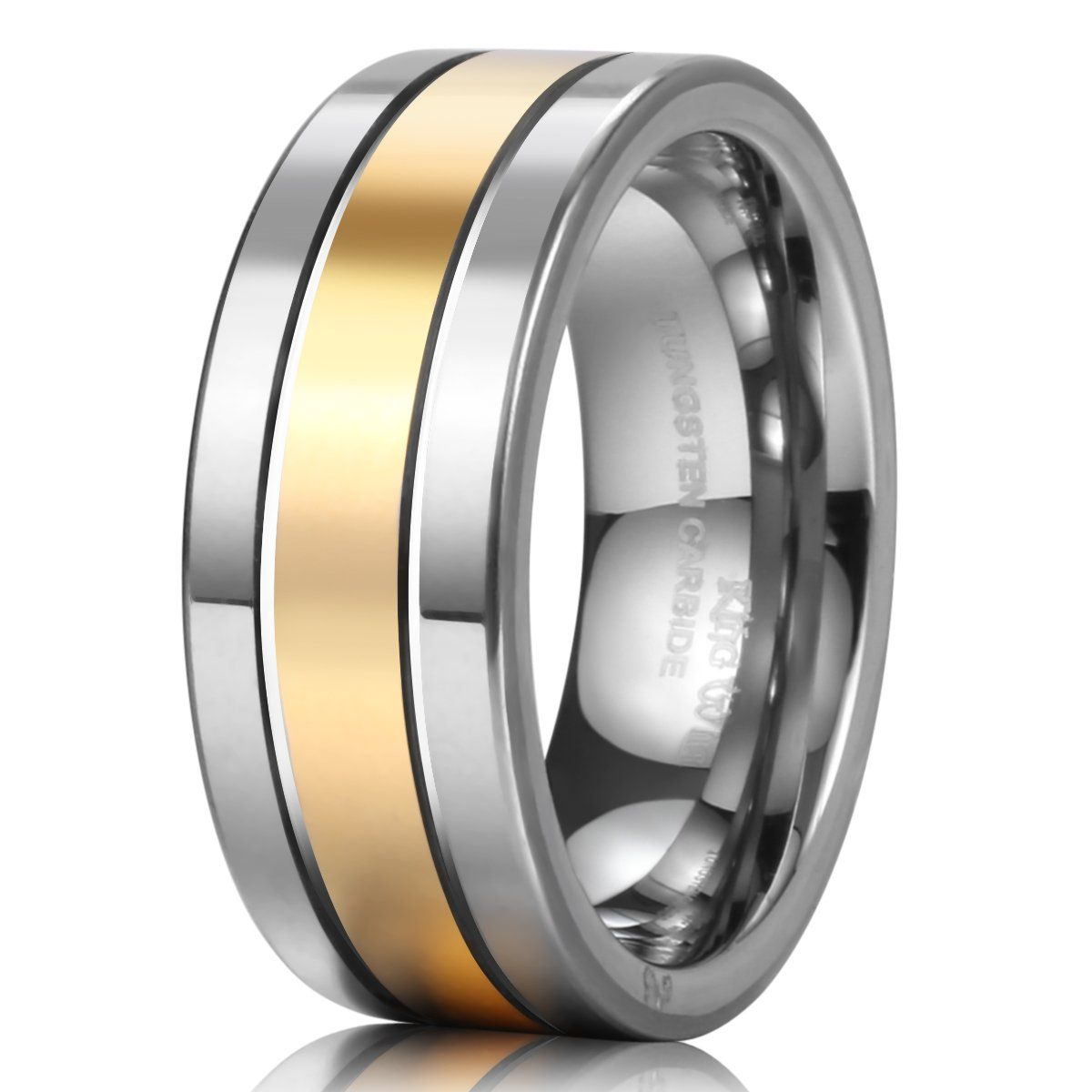 King Will 8mm Flat Top Tungsten Ring Men's Wedding Band Grooved 14k Gold  Two Tone Grooved