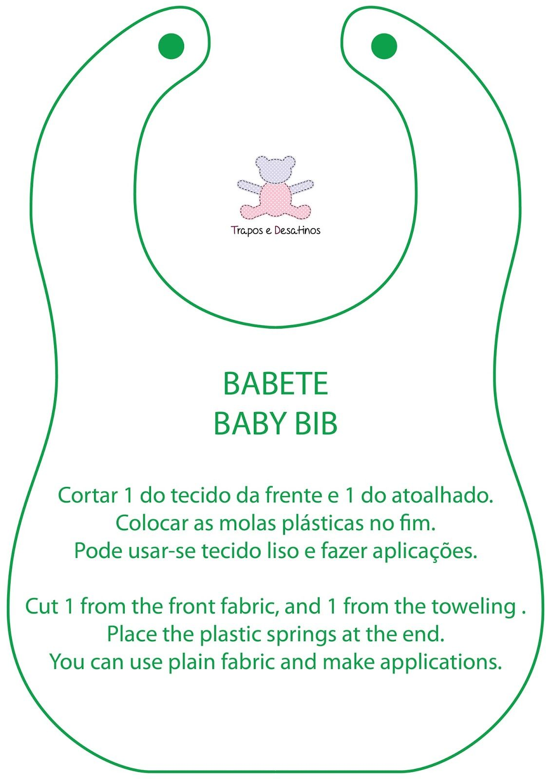 Moldes Grátis | Free Sewing Patterns: Babete simples com tutorial ...