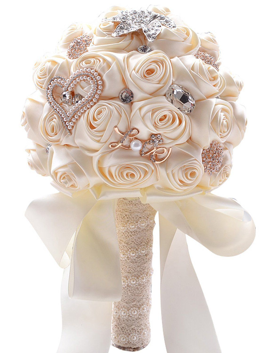 Clearbridal Real Touch Flower Silk Rose Bridal Wedding Bouquet With