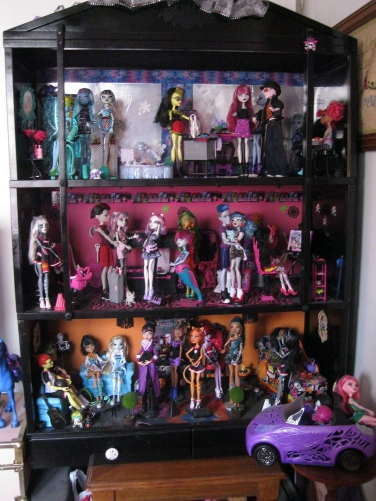 Monster High Doll House Playset Ooak Wood With Storage Drawers