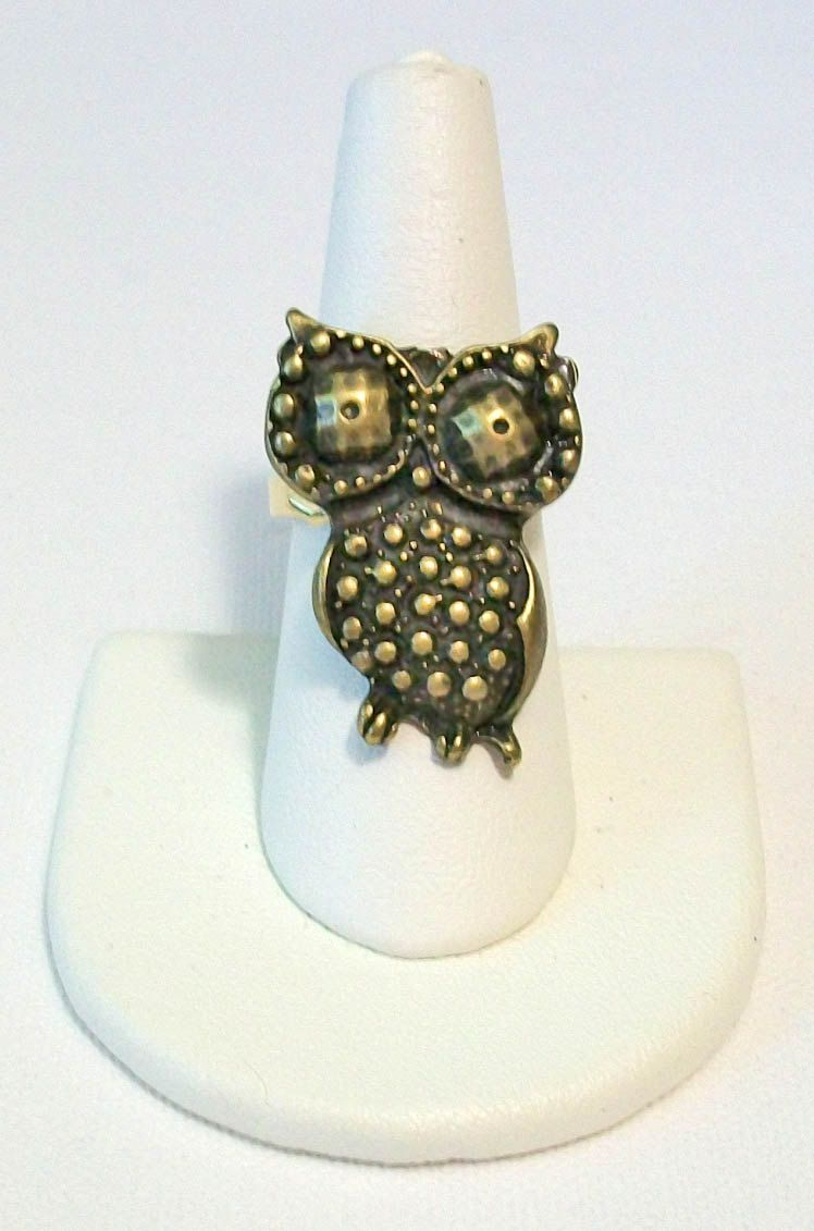 Unique Detailed Brass Aged Gold Brass Owl Ring.