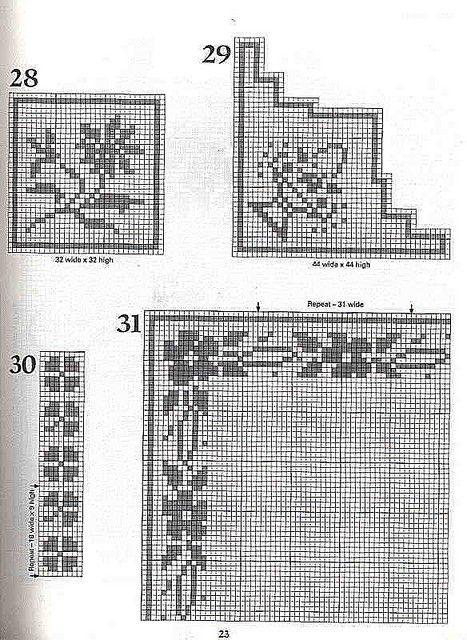 101 Filet Crochet Charts 23 | Kreuzstich und Häkeln