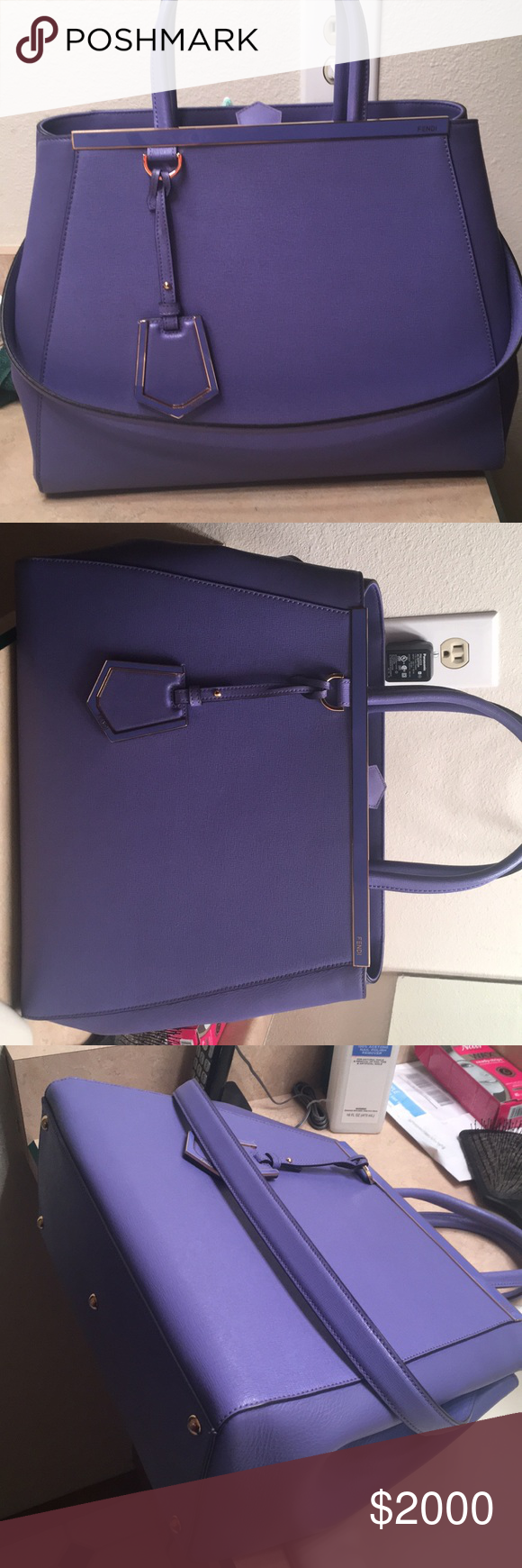 a18b32cc06 Fendi 2Jours Medium Saffiano Tote Bag FENDI 2Jours Medium Saffiano Tote Bag  in Purple. Fendi