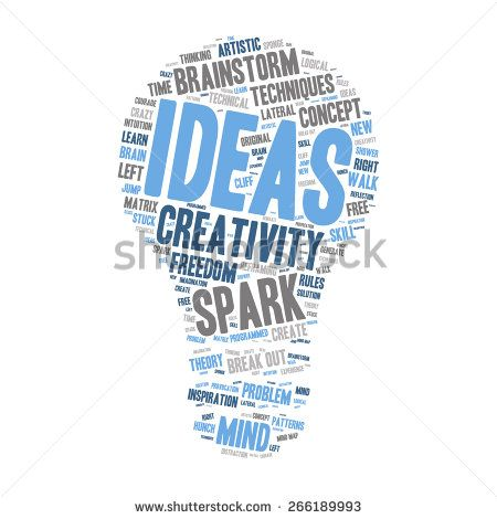 Word Cloud - Creativity, Inspiration and Ideas. word cloud about the creative process, grey, blue, white. Isolated Light Bulb Shape  - stock vector