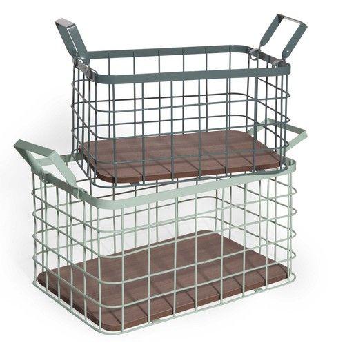 URBAN 2 green metal and imitation wood crates