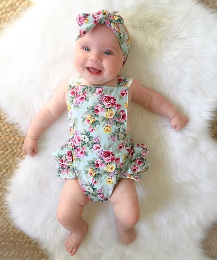 2pcs Newborn Baby Girl Floral Romper Bodysuit Headband Sets Summer Clothes