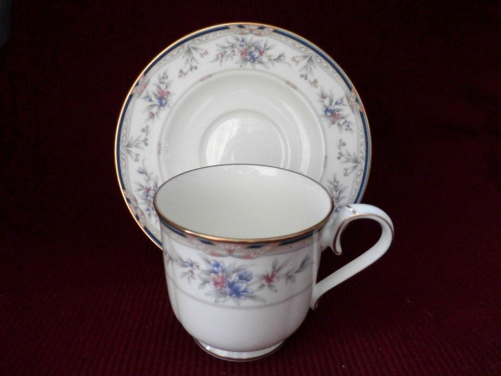 Noritake Lylewood Cup Saucer 9760 Delicate Floral Design On An Off White Background This Is A Beautiful China Pattern Cup China Cups And Saucers Saucer