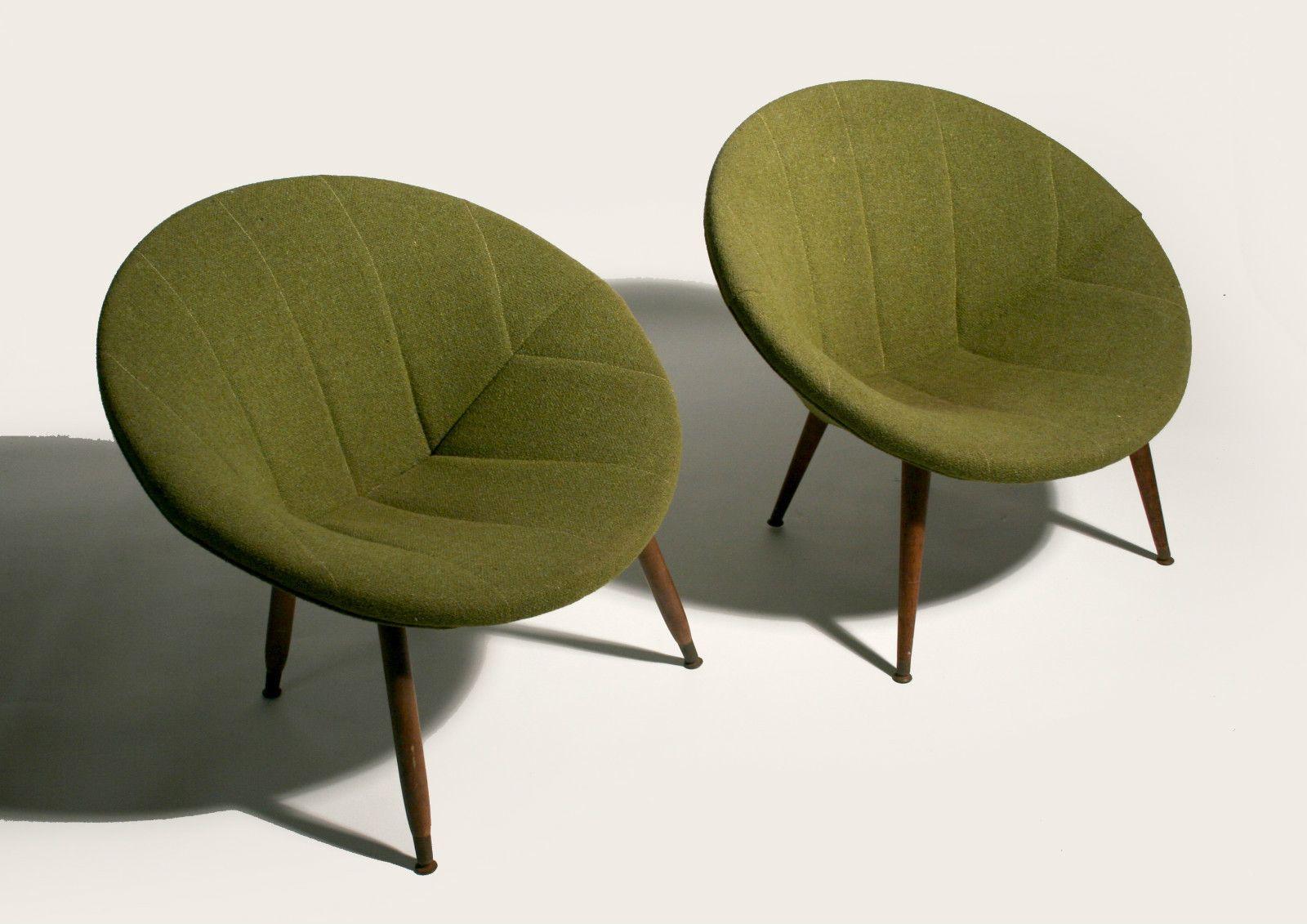 50 S Mid Century Danish Modern Circular Pod Lounge Chairs