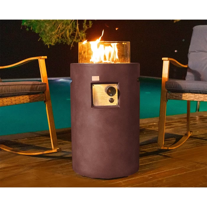 Mascorro Outdoor Concrete Propane Fire Column Propane Column Design Wooden Decks