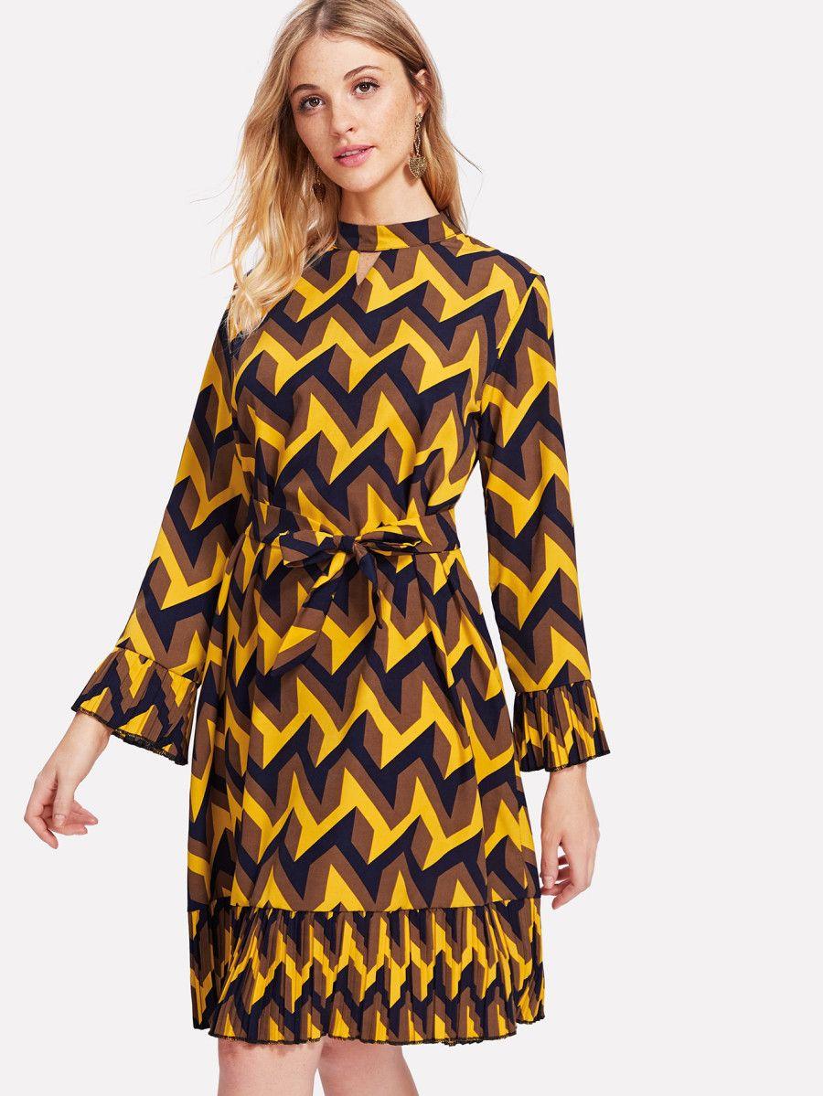 Geo Kleid mit Raffung - German SheIn(Sheinside)  Modische kleider