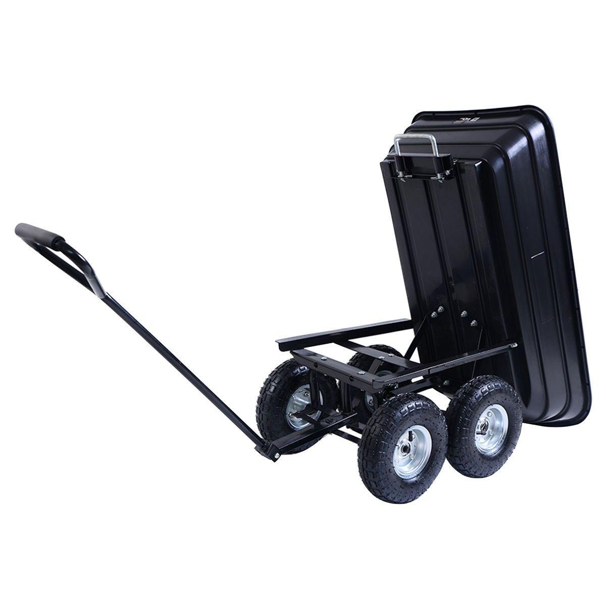 650Lbs Garden Dump Cart Dumper Wagon Carrier Wheel Barrow Air Tires Heavy Duty