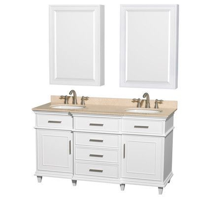 """Wyndham Collection Berkeley 60"""" Double White Bathroom Vanity Set with Mirror Top Finish: Ivory Marble"""