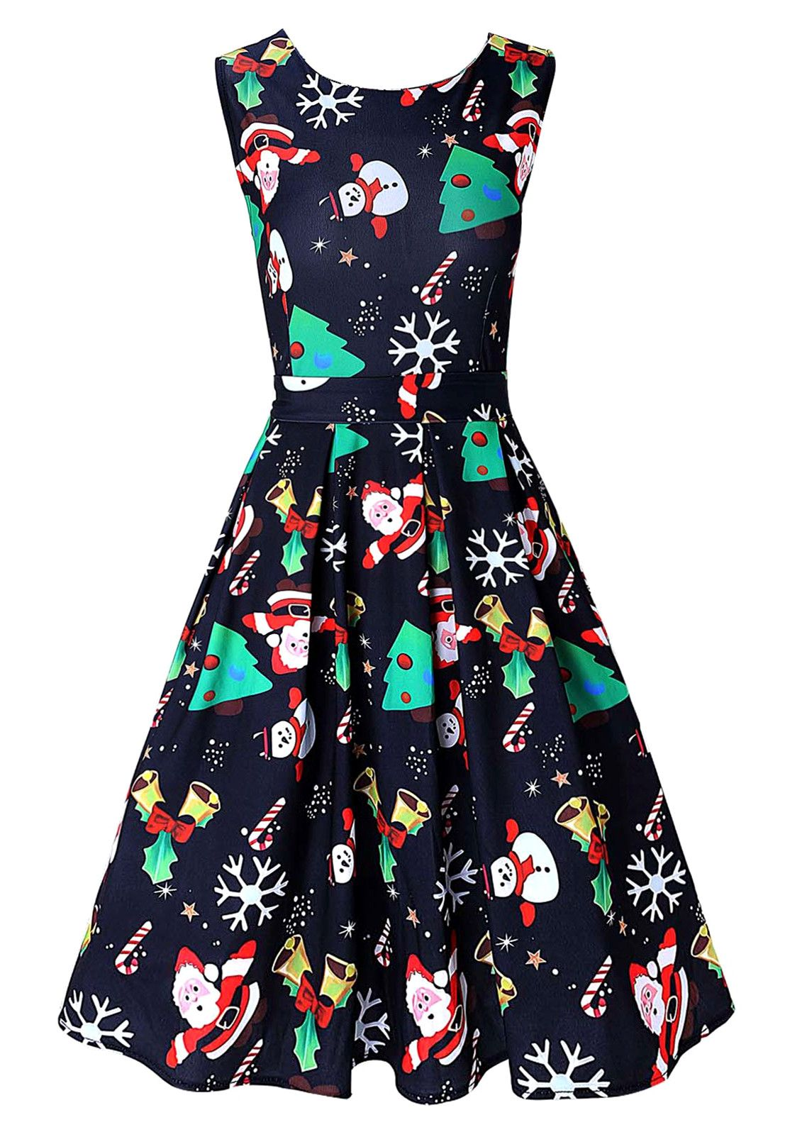 ba17633d3 Vintage Santa Claus Print Christmas Dress - Purplish Blue - 2xl ...