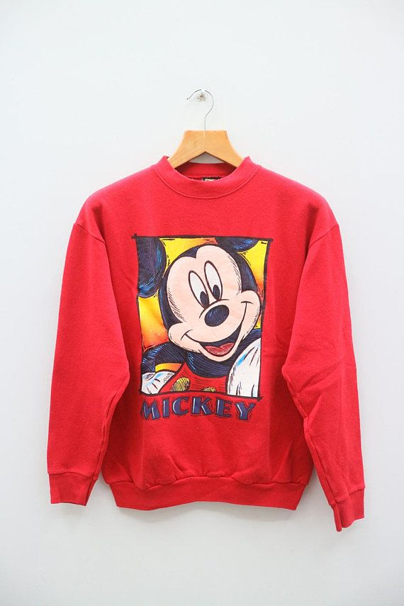 Vintage MICKEY MOUSE Walt Disney Cartoon Red Sweater Sweatshirt Size M gtjhXbVve