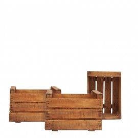 Un almacenaje diferente y con historia. Cajas antiguas de fruta, hechas de madera, disponibles en Jirafa Gallery.