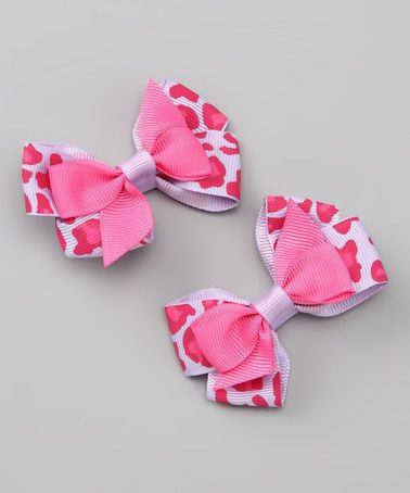 Take a look at this Pink & Purple Leopard Silly Stack Clip Set by Bitty Bop Bows on #zulily today!