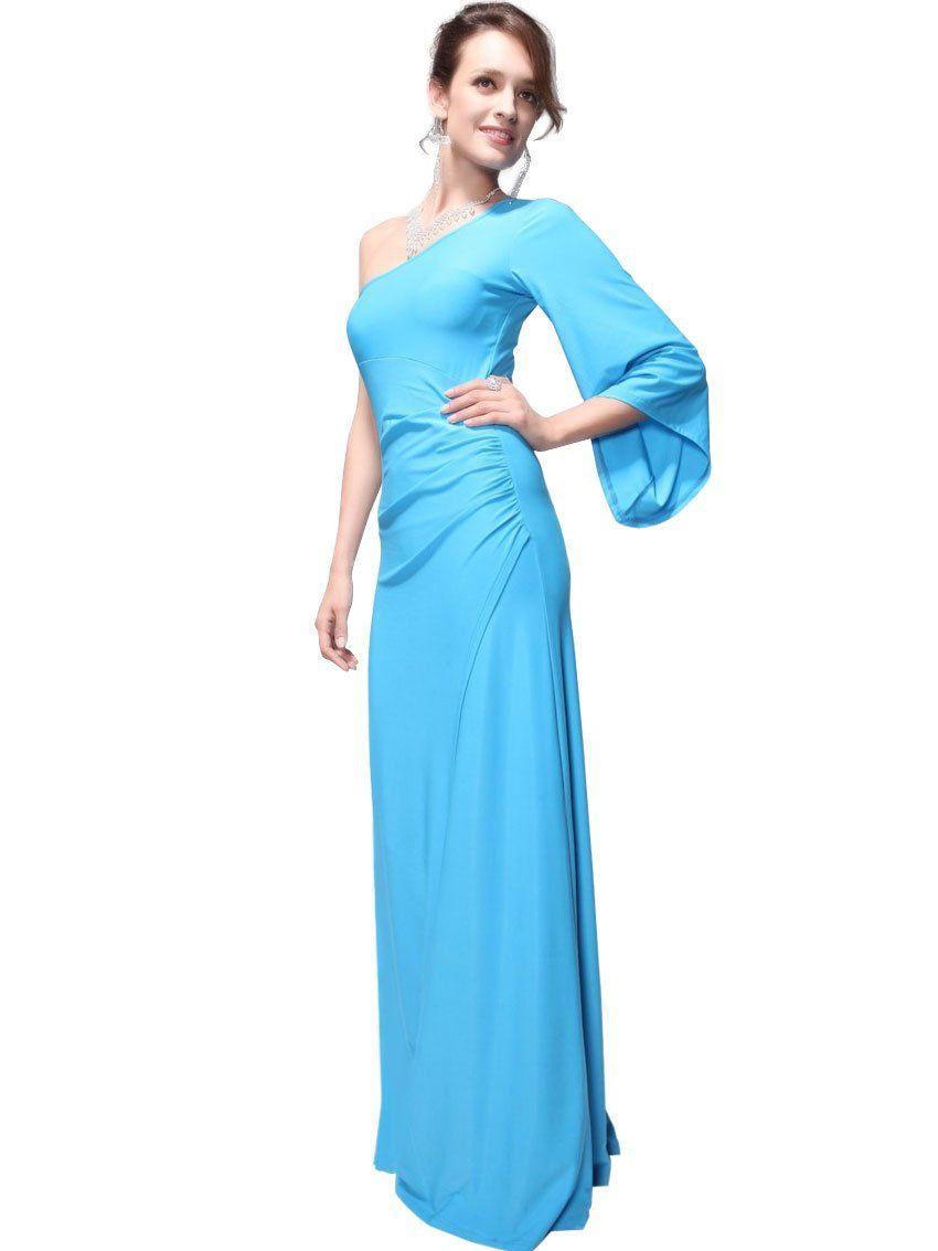 Ever pretty womens diva one shoulder long sleeve dress size xl blue