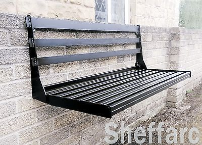 2 Seater Space Saving Wall Mounted Foldable Metal Garden Seat Bench Wall Seating Garden Seating Deck Seating